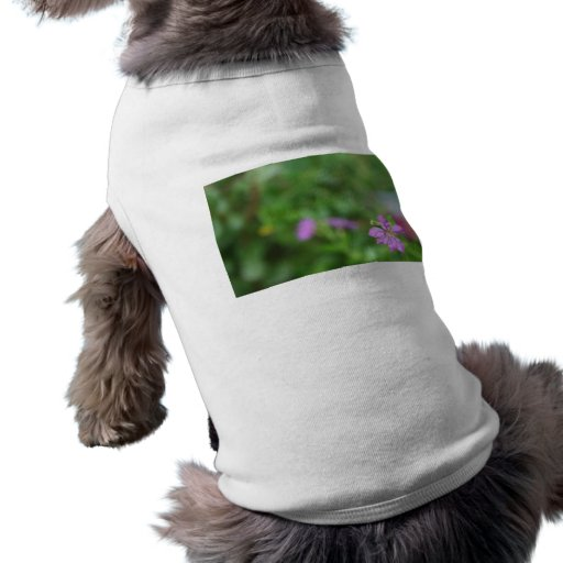 Floral green background small purple flower dog tee
