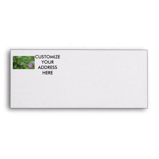 Floral green background small purple flower envelope