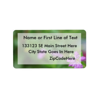 Floral green background small purple flower label
