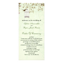 floral green bird cage, birds wedding programs