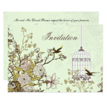 floral green bird cage, love birds invites