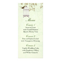 floral green bird cage, love birds Menu Cards
