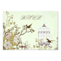 floral green bird cage, love birds RSVP 3.5 x 5 Card