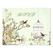 floral green bird cage, love birds RSVP Card