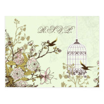 floral green bird cage, love birds RSVP Postcard