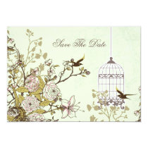 floral green bird cage, love birds save the dates card