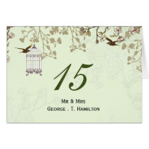 floral green bird cage, love birds table numbers card