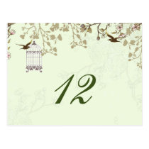 floral green bird cage, love birds table numbers postcard