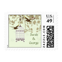 floral green bird cage, love birds wedding stamps