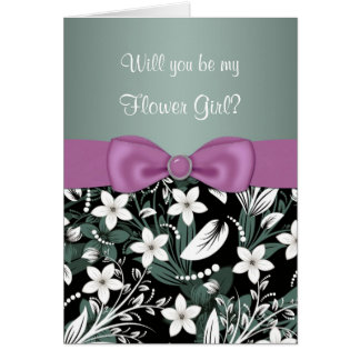 Floral green blue pink Flower Girl Greeting Cards
