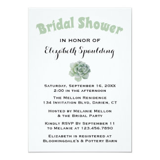 Floral Green Bridal Shower Succulent Cactus Card