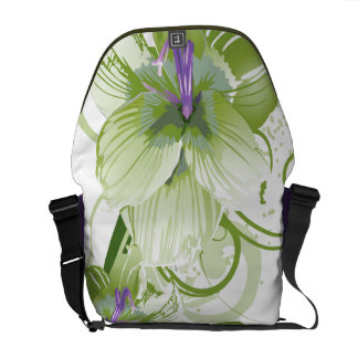 floral green  elegance messenger bag