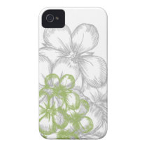 floral green gray iPhone 4 Case-Mate case