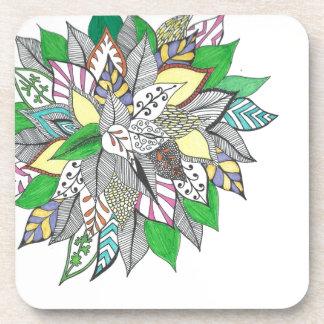 Floral Green Leaf Drink Coaster