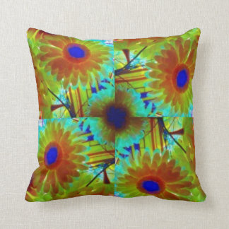 Floral green multicoloured flower cushion