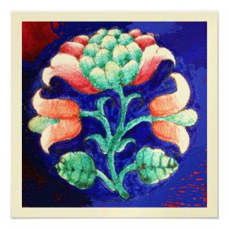 FLORAL , green red blue orange, gold metallic 5.25x5.25 Square Paper Invitation Card