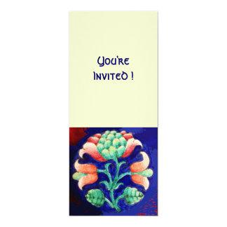 FLORAL , green red blue orange 4x9.25 Paper Invitation Card