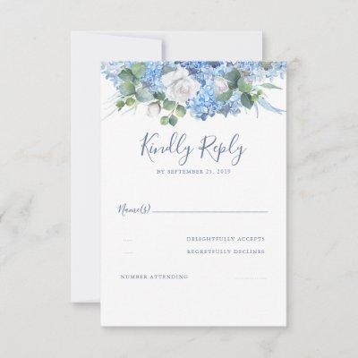 Floral Greenery Dusty Blue Wedding RSVP