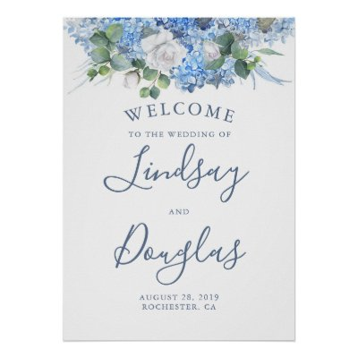 Floral Greenery Dusty Blue Wedding Welcome Sign