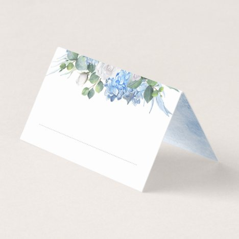 Floral Greenery Elegant Dusty Blue Wedding Place Card