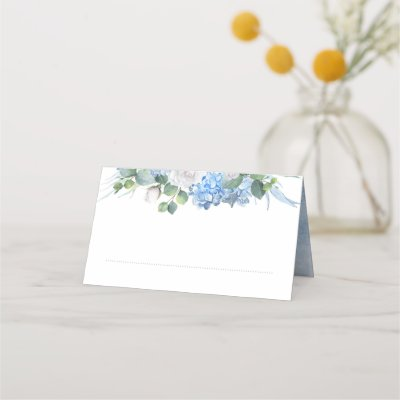 Floral Greenery Elegant Dusty Blue Wedding Place Card