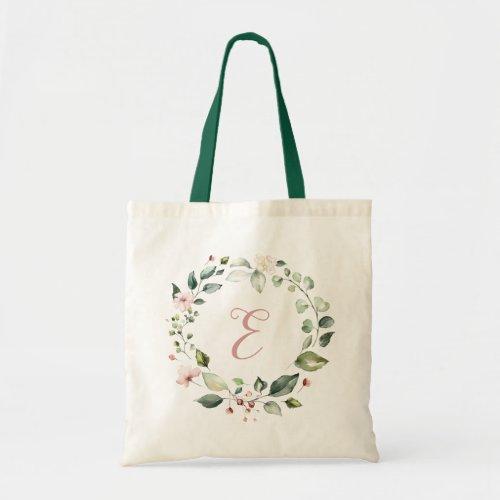 Floral Greenery Personalized Monogram Blush Pink Tote Bag