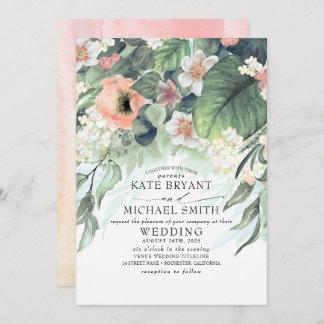 Floral Greenery Summer Garden Romantic Wedding Invitation
