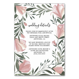 Floral Greenery Vintage Pink Wedding Insert Cards
