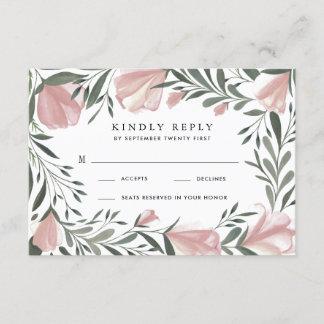 Floral Greenery Vintage Rustic Wedding RSVP Cards