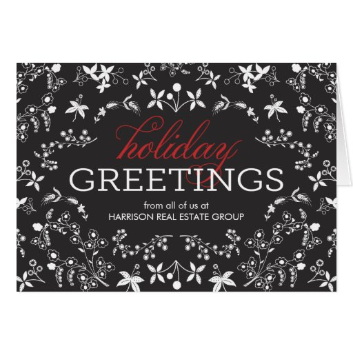 Floral greetings business holiday greeting card zazzle for E christmas cards for business