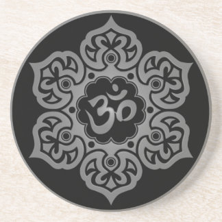 Floral Grey and Black Aum Design Sandstone Coaster