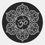 Floral Grey and Black Aum Design Sticker