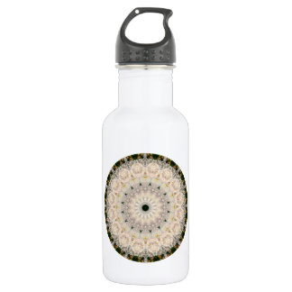 Floral Grey and Pink Peony Mandala Kaleidoscope Stainless Steel Water Bottle