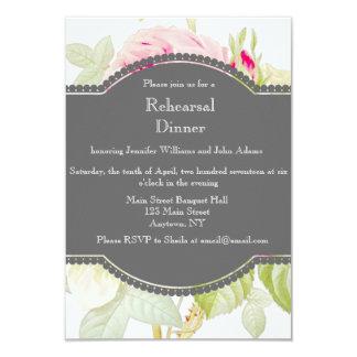 Floral Grey Rehearsal Dinner Invitations
