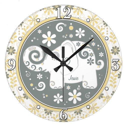 Floral gris amarillo del elefante blanco personali reloj redondo grande