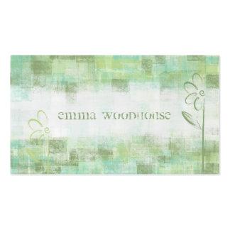 Floral Grunge Aqua & Sea Green Business Card