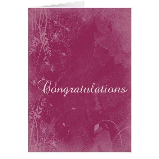 Floral Grunge Congratulations Card