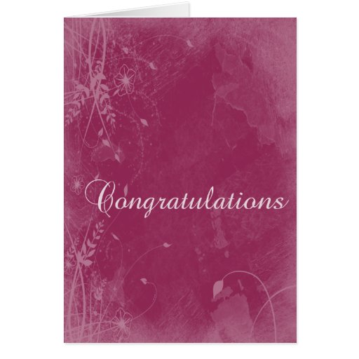 Floral Grunge Congratulations Greeting Card