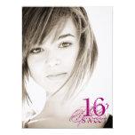Floral Grunge - Photo Sweet 16 Invitation