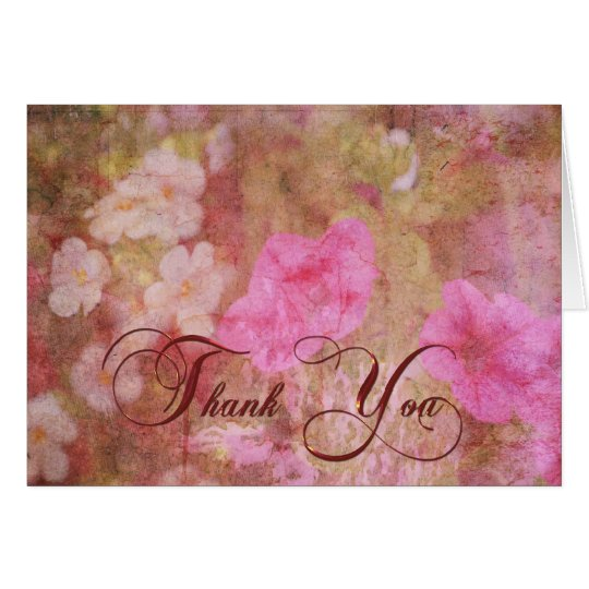 Floral Grunge Thank You Card