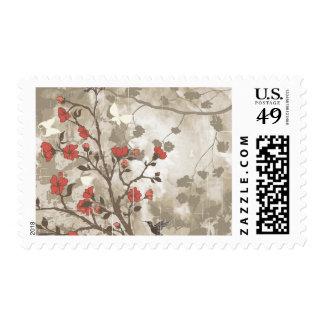 Floral Grunge with Bird Postage