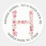 Floral H Initial Monogram Return Address Sticker