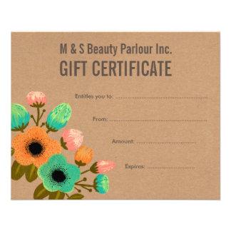 Floral Hair Beauty Salon Gift Certificate Template Flyer