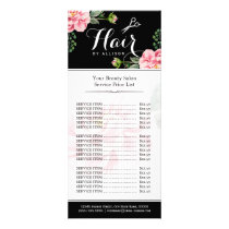 Floral Hair Stylist Modern Beauty Salon Price List Rack Card