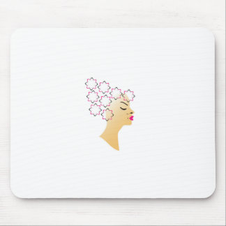 Floral hairstyle mouse pad