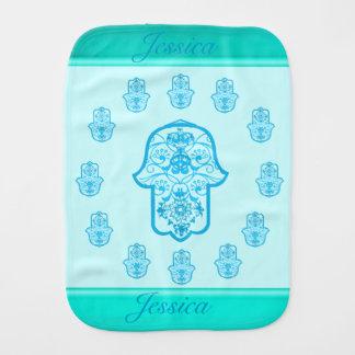 Floral Hamsa (Blue) Baby Burp Cloth