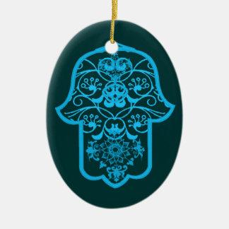 Floral Hamsa (Blue) Ceramic Ornament