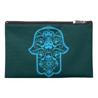 Floral Hamsa (Blue) Travel Accessory Bag