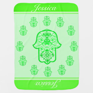 Floral Hamsa (Green) Baby Blankets