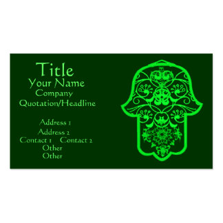 Floral Hamsa (Green) Double-Sided Standard Business Cards (Pack Of 100)